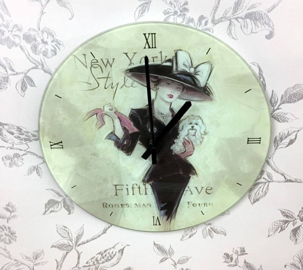 Decorative Glass New York 50's Fashion Wall Clock